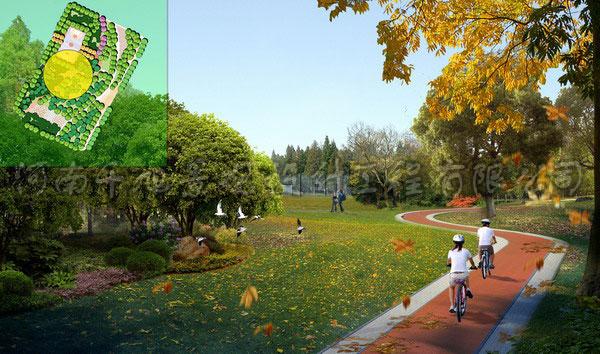 (公园设计)公园自行车步道局部效果